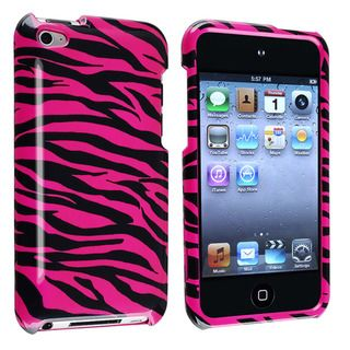 Hot Pink/ Black Zebra Snap on Case for Apple iPod Touch 4th Generation