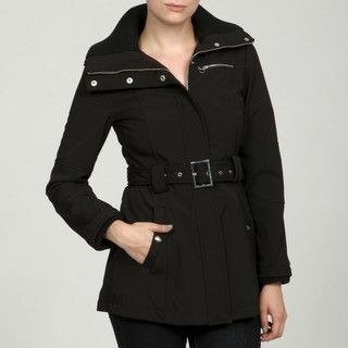 Miss Sixty Womens Black Belted Raincoat FINAL SALE
