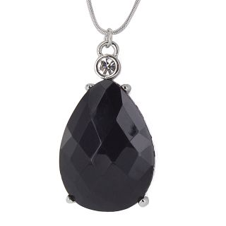 Silvertone Faceted Black Stone and Crystal Pendant Necklace