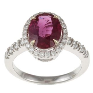 18k White Gold Ruby and 2/5ct TDW Diamond Estate Ring (G H, VS2 SI1