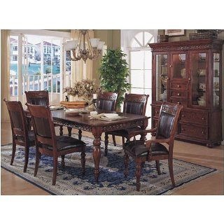 BEAUTIFUL DARK SOLID WOOD DINING TABLE SET W/ 6 CHAIRS