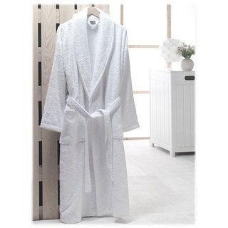 Salbakos Bright white Shawl collar Turkish cotton Terry Robe