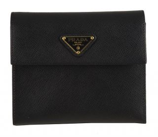 Prada Black Leather Metal Logo Trifold Wallet