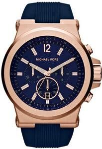 Michael Kors Dylan Navy Dial Rose Gold tone Navy Silicone Strap Mens