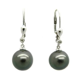sire 10k Gold Black Tahitian Pearl and Diamond Accent Earrings (9 10