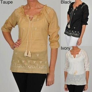 Simply Irresistible Womens Peasant Embroidered Tunic Top