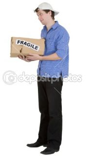 Man hold cardboard box with discription  Stock Photo © pz.axe