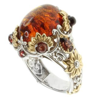 Michael Valitutti Sterling Silver Amber Two Tone Ring