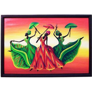 Handcrafted Umbrella Dancers Painting (Indonesia)