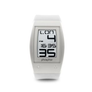 Phosphor Mens White World Time Sport E Ink Digital Watch