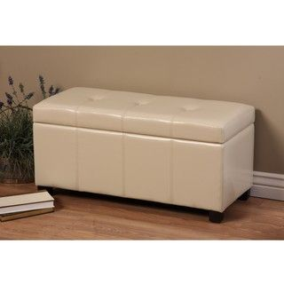 Warehouse of Tiffany Ariel Ivory Faux Leather Storage Bench