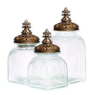 Casa Cortes Baroque Fleur De Lis 3 piece Gold Lid Glass Canister Set