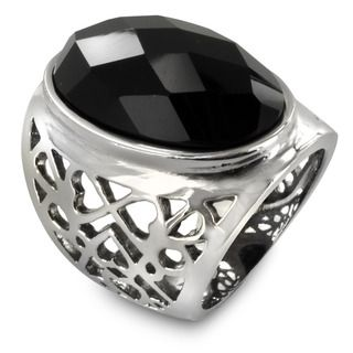 Stainless Steel Multi Faceted Oval Onyx Ring