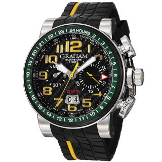 Graham Mens Silverstone Black Dial Black Rubber Strap Watch