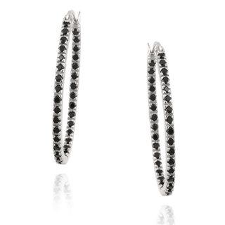 Glitzy Rocks Sterling Silver Black Spinel Hoop Earrings (1 1/3ct TGW