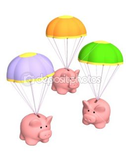 Piggy banks, flying on parachutes  Stock Photo © Natalia Lukiyanova