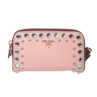 Prada Jeweled Light Pink Leather Wristlet