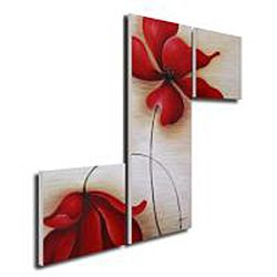 Red Flowers 255 Hand painted Canvas Art Set