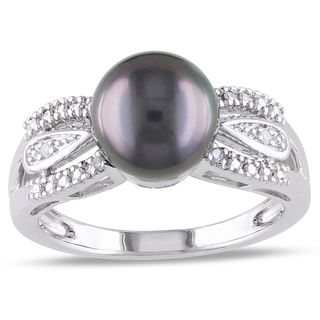 Miadora Sterling Silver Tahitian Pearl and Diamond Accent Ring (9 9.5