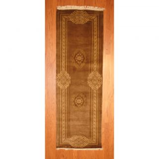 Indo Hand knotted Tibetan Light Brown/ Beige Wool Rug (27 x 710