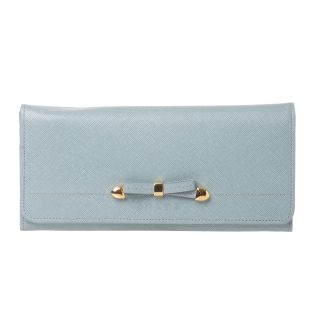 Prada Light Blue Leather Bow Flap Front Wallet
