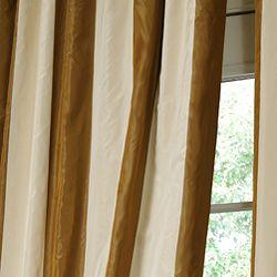Signature Stripe Faux Silk Taffeta 120 inch Curtain Panel