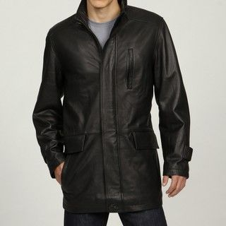 Izod Mens Black Leather 3/4 length Car Coat
