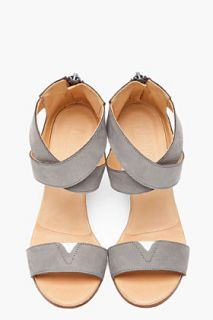 MM6 Maison Martin Margiela Grey Criss crossing Nubuck Wedge Sandals for women