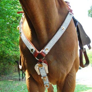 Geniune Leather Rhinestone Horse Breast Collar & Head