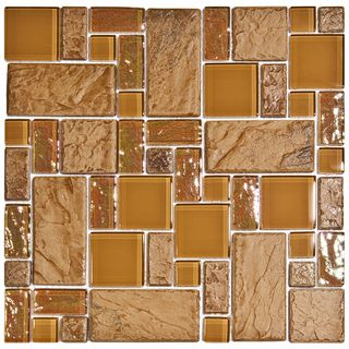 SomerTile 11.75 in Oasis Versailles Peony Glass/ Ceramic Mosaic Tiles