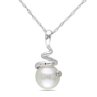 Miadora 14k White Gold Cultured Tahitian Drop Pearl Necklace (9 10 mm
