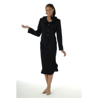 Divine Apparel Womens Black Ruffle Skirt Suit