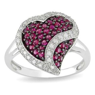 14k White Gold Created Ruby and 1/6ct TDW Diamond Heart Ring (G H, I1