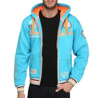 GEOGRAPHICAL NORWAY Sweat Homme Turquoise, orange, gris et blanc