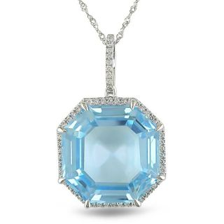14k Gold Blue Topaz and 1/4ct TDW Diamond Necklace (G H, SI1 SI2