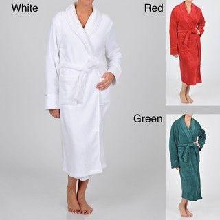 La Cera Womens Satin Trimmed Shawl Collar Spa Robe