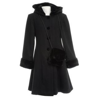 Trilogi Collection Girls Black Wool blend Faux Fur Hooded Walking