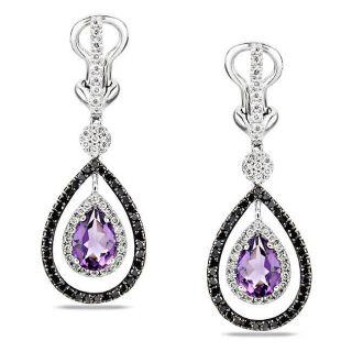 Miadora 14k White Gold Amethyst and Black/ White Diamond Earrings (G H