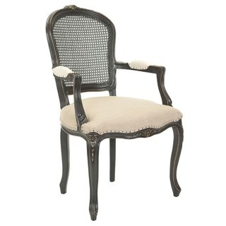 Mouries Beige/ Antiqued Black Carved Nailhead Arm Chair