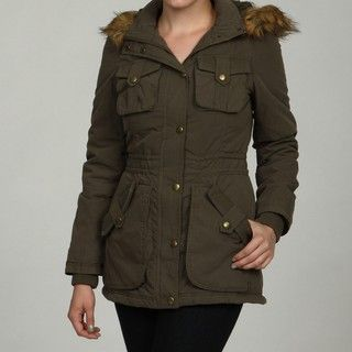 Miss Sixty Womens Cotton Ruched Faux Fur Coat FINAL SALE