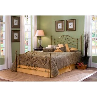 Hayley full size antique brass bed with frame