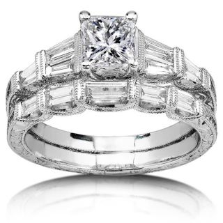 18k White Gold 2ct TDW Diamond Bridal Ring Set (I J, I1 I2
