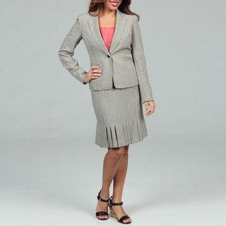 Anne Klein Womens Sand/ Multi Pleated Skirt Suit