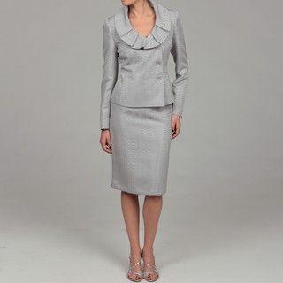 Evan Picone Womens Platinum Ruffle Collar Skirt Suit