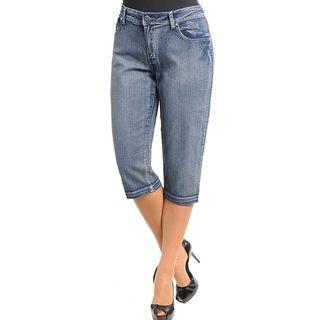 Stanzino Womens Plus Size Blue Stone Washed Capri Pants