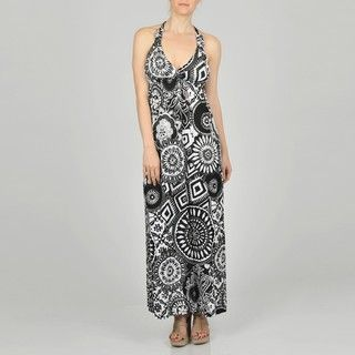 Gold Womens Black Allover Medallion Maxi Dress