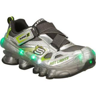 Boys Skechers Hot Lights Hexton Silver/Green