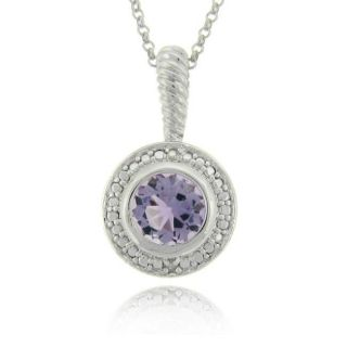 Sterling Silver Amethyst and Diamond Accent Necklace