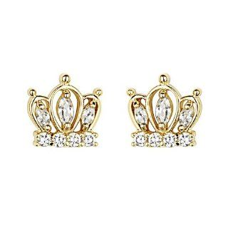 14K Yellow Gold Plated Crown CZ Stud Earrings with Screw