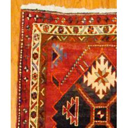Persian Hand knotted Red/ Ivory Tribal Hamadan Wool Rug (36 x 124